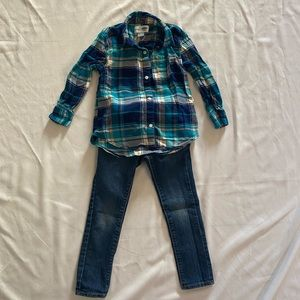 Old Navy Girls Plaid Flannel and Jeans both Size5